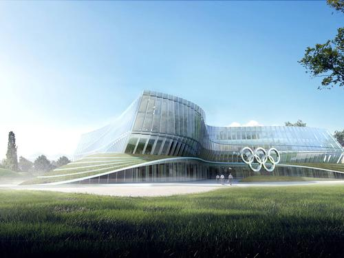The building's undulating facade is meant to convey the energy of an athlete in motion / 3XN