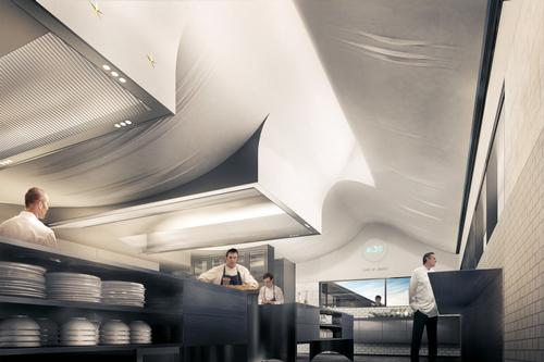 The ceiling has been designed to appear as a softly unfurling table cloth / Snøhetta