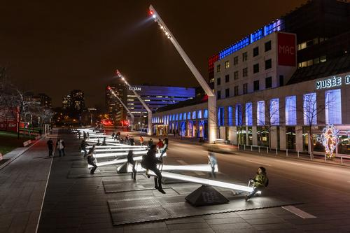 The 30 seesaws are located in downtown Montreal / Ulysse Lemerise