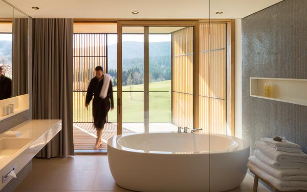 Guest rooms at Tegernsee have been designed to offer a place of refuge