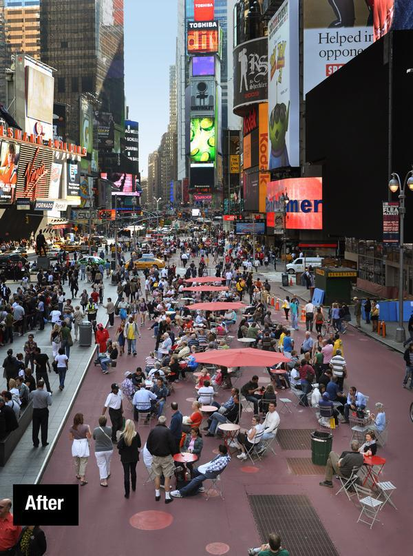 Times Square in New York City has been pedestrianised and now attracts café seating, concerts and even yoga classes