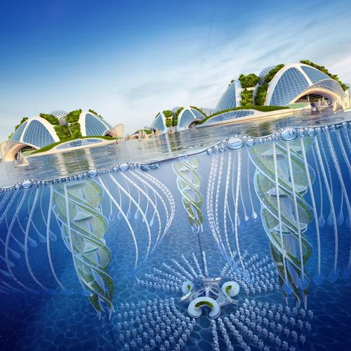Each oceanscraper would be made from recycled plastic gathered from islands of waste floating in the world's oceans / Vincent Callebaut