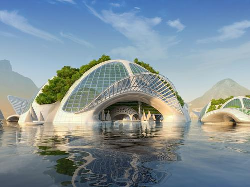 On the surface, large floating conch-shaped marinas rooted with mangroves would provide a home for horticultural greenhouses, organic farms and community spaces / Vincent Callebaut