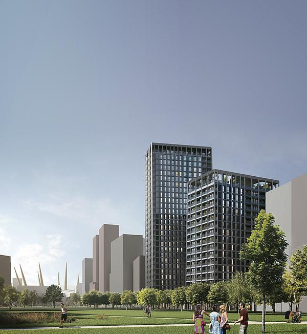 ABA have designed four residential towers with leisure space for the Greenwich Peninsula scheme