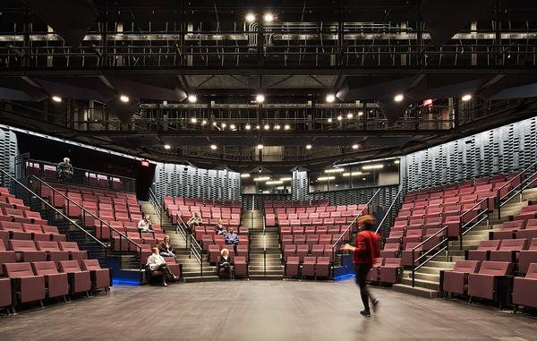 The staging has been designed to maximise intimacy between actors and audience.