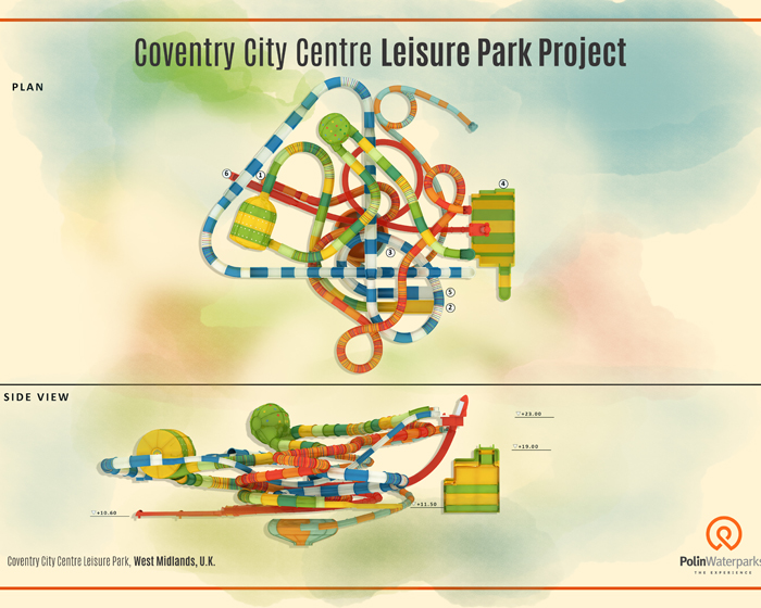 The Coventry Centre Leisure Park will feature an indoor waterpark with several Polin attractions