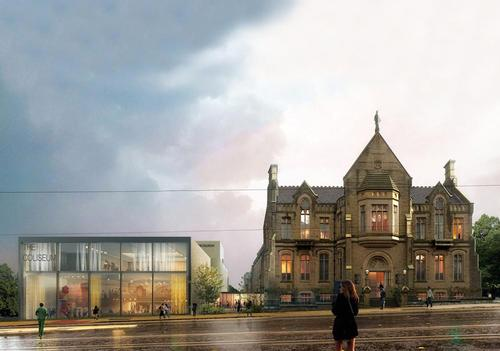 The renderings demonstrate how the new-build Coliseum Theatre would look next door to the Grade II-listed former Oldham Library and Art Gallery building / Mecanoo