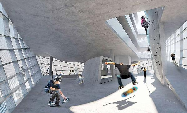 Urban sports like BMX, skateboarding, boxing and rollerblading inspired the modern leisure park design