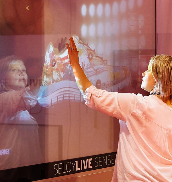 Shoppers can create snowflakes on the touchscreen window
