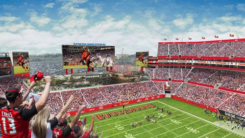 The giant screens would mean the stadium's total video display area would be 28,416sq ft — the third-largest in the NFL.