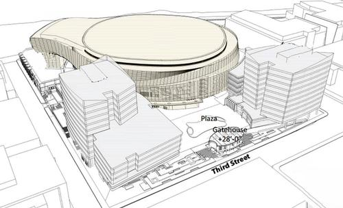 The first artist's impression of the planned new arena / Golden State Warriors