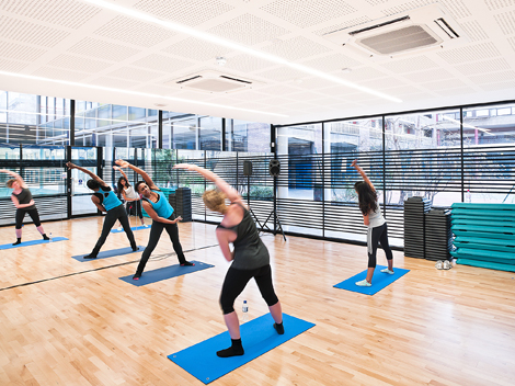 A new dance studio was created between the swimming pool and the sports hall
