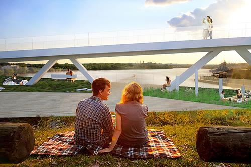 The concept behind Bridge Park is to boost health and wellbeing in Washington / OMA and OLIN