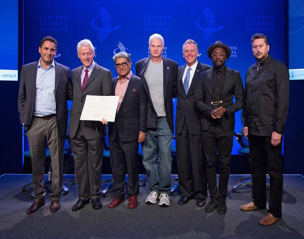 Delos co-founder Morad Fareed (far left) with advocates Bill Clinton, Deepak Chopra and will.i.am (second, third and sixth right)
