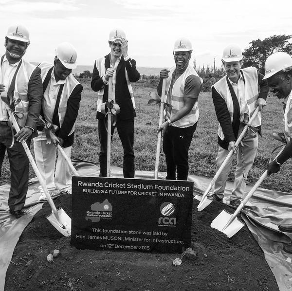 Alby Shale helps break ground on the Rwanda Stadium project