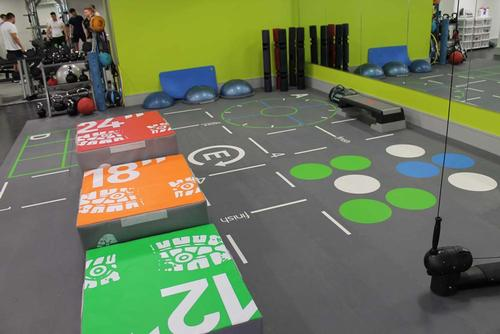 An enlarged gym on one level