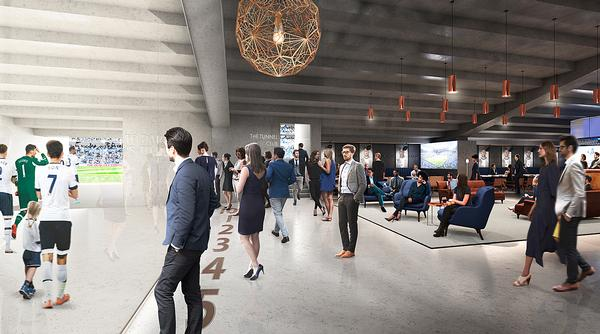 The purpose-built, glass walled Tunnel Club will give views of the players' tunnel