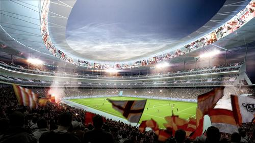 The stadium's regular capacity of 52,000 can be expanded to 60,000 for major matches