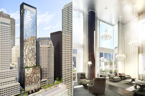 Skidmore, Owings & Merrill served as architects for the 50-storey tower, while Tony Ingrao led the residential design – of the 60 private residences within the tower / Baccarat
