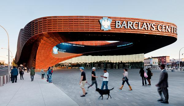 A temporary pavilion by SHoP led to the Barclay Center in Brooklyn