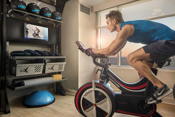 Hilton's Five Feet to Fitness rooms feature a 100sq ft workout area