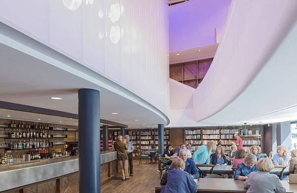 Storyhouse is home to a library and bar, as well as a cinema and theatre