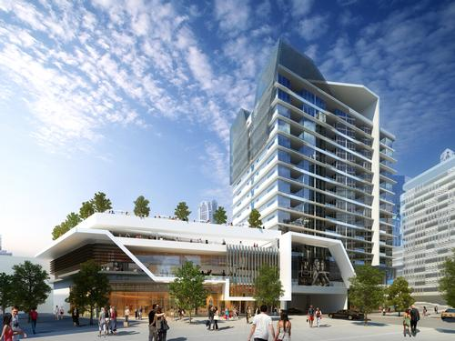 MHG plans for the two adjacent buildings to harmonise with the Perth City Link masterplan of creating a lifestyle-focused environment / MHG
