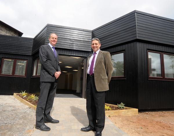 Colin Hooper, left, estates director at Stoneleigh Park and Chris Trickey, right, outside SAPCA's new headquarters.
