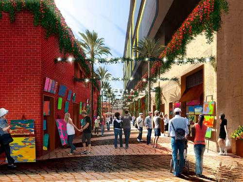 The lobby will be linked to a public landscaped pedestrian alley / Rockwell Group