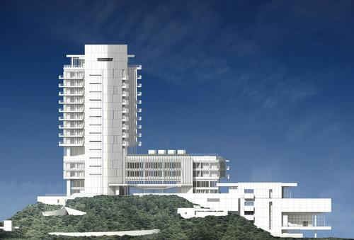 A four-storey base building bridges the two towers / Richard Meier & Partners