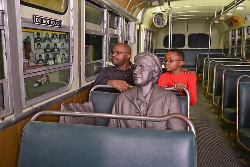 The museum recreates several landmark events in the civil rights struggle, including Rosa Parks' protest which sparked the Montgomery bus boycott / National Civil Rights Museum