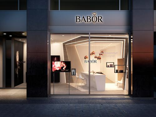 The 130sq m (1,400sq ft) flagship store is designed to give visitors a taste of the full range of the brand's products. / Babor