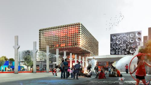 One of the buildings will be designed as a real working speaker / MVRDV/Luxigon