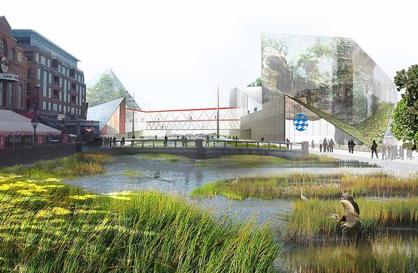 Urban wetland is planned for the National Aquarium, Baltimore, Maryland