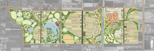 A recent plan of the park layout, designed to look like a flower, with the leisure and attractions hub in the top right corner of the map / International Destination Strategies