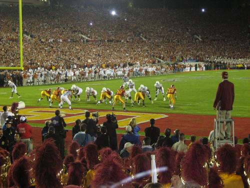 The stadium hosts the annual New Year American college football Rose Bowl Game / Eric R
