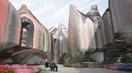 The American team has developed a design consisting of a group of colourful conjoined pods / Young & Ayata