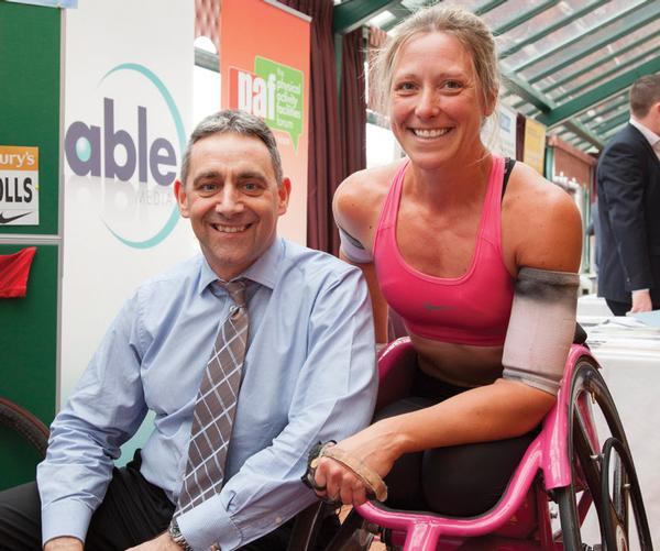 Paralympian Mel Nicholls held a demonstration wheelchair racing session on the show floor