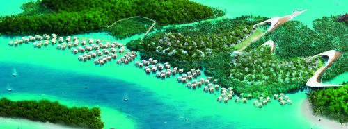 Seven different types of villas are available, including over-water, ocean front and forest