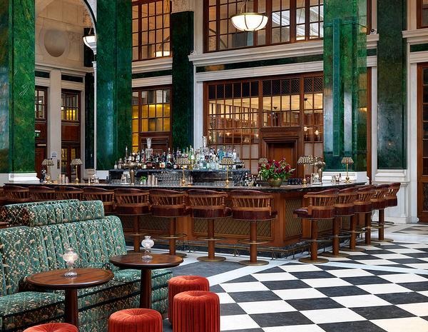 The Nickel Bar occupies part of the lobby, which formerly housed the banking hall