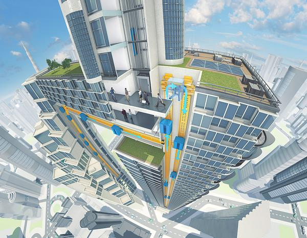 The rope free elevator system allows elevators to move horizontally and vertically