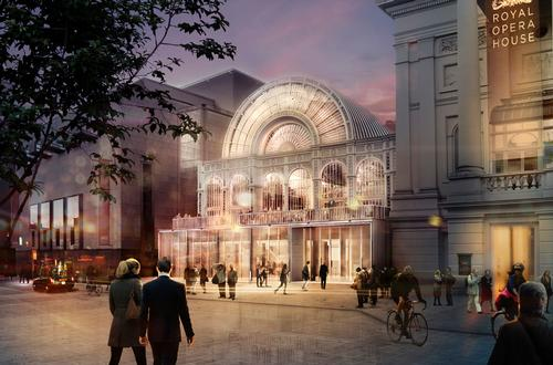 A rendering of how the new glazed entrance on Bow Street for the Royal Opera House will look / Stanton Williams