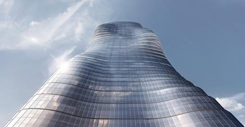 The curvy Premier Tower pays homage to Beyoncé's 'Ghost' music video / Elenberg Fraser / Pointilism