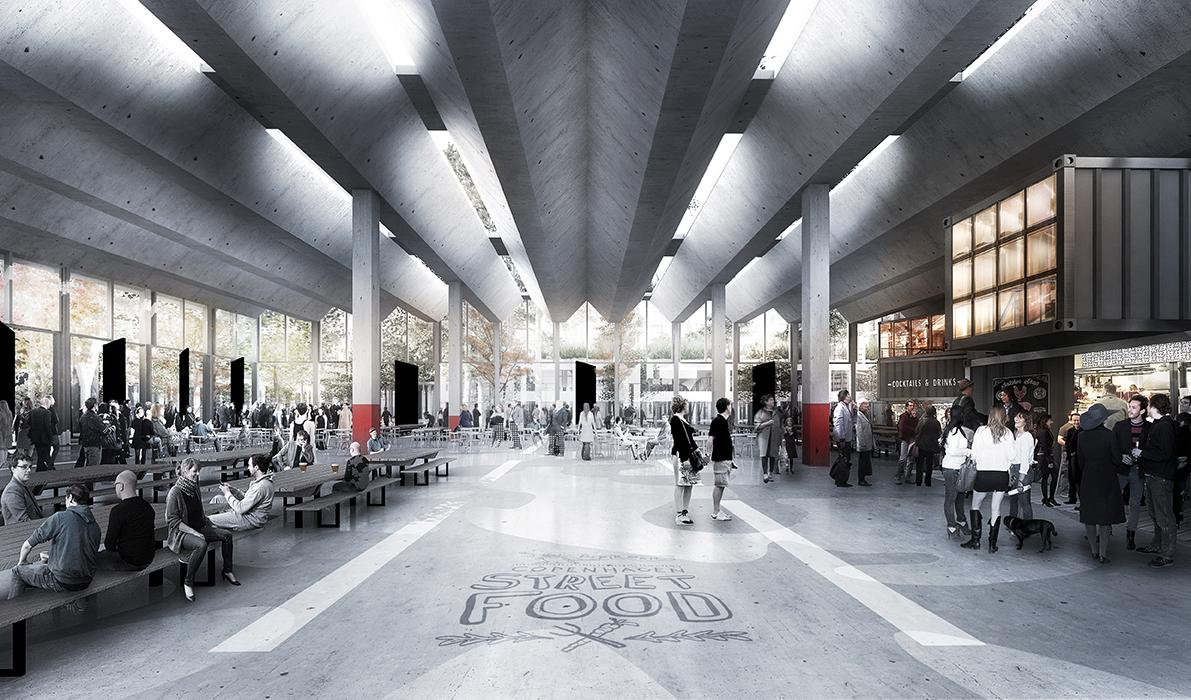A popular street food market currently opens on the island, and will be part of the new development / COBE/Luxigon