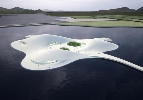 MAD have envisioned the development as a mountainous island whose rising dunes and caves house the museum's galleries / MAD Architects