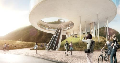 Snøhetta's design is comprised of two doughnut-shaped terminals at both the summit and base / Snøhetta Architects