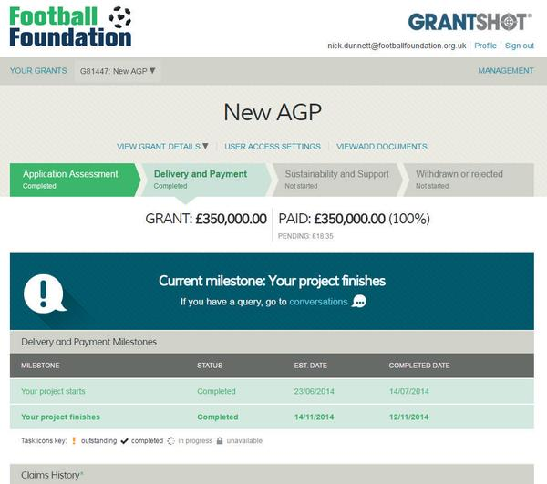 The Football Foundation monitors the outcomes generated following a grant award