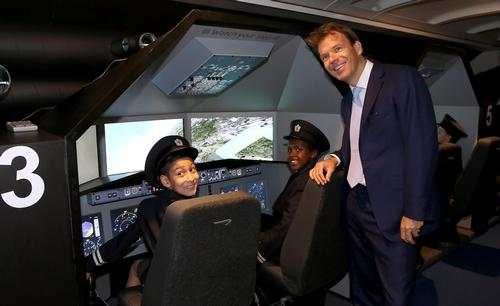 KidZania London Chairman Joel Cadbury in the Aviation Academy at the launch of KidZania London