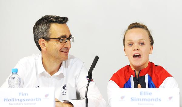 Hollingsworth became part of Paralympics GB in 2011. Here with Ellie Simmonds / image ©: anna gowthrope / press association