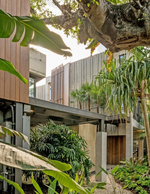 The house is elevated above a sculptural garden